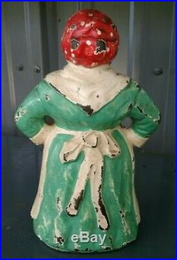 Antique HUBLEY Southern Mammy BLACK AMERICANA Aunt Jemima Cast Iron Doorstop