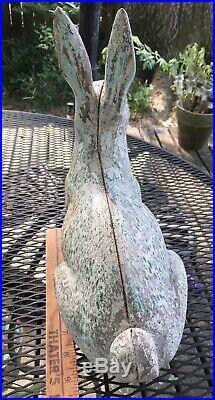 Antique HUBLEY cast iron rabbit door stop/garden statue 9.5x11.5 lovely PATINA