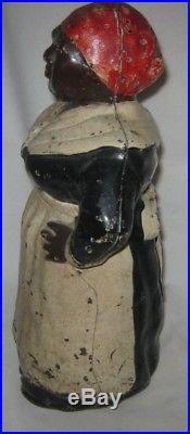 Antique Hubley 12 Black Americana Mammy Lady Cast Iron Art Statue Door Doorstop