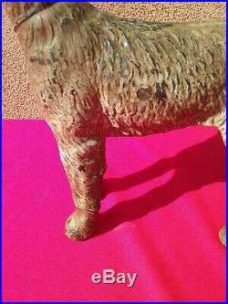 Antique Hubley 1930s cast iron dog metal door stop statue art sculpture Terrier