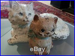 Antique Hubley 335 Fire Side Cat And Kitten # 802-1, Cast Iron Doorstops