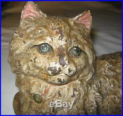 Antique Hubley # 335 Fireplace Hearth Stove Cast Iron Cat Doorstop Statue Weight