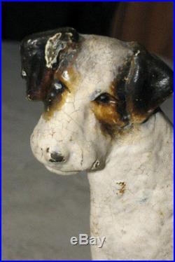 Antique Hubley # 351 Solid Cast Iron Fox Terrier Dog Art Statue Door Doorstop