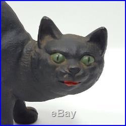 Antique Hubley Black Cat Cast Iron Doorstop Halloween Arched Back Vintage