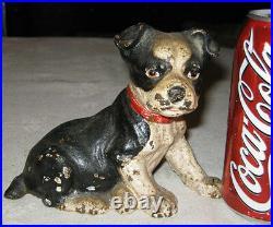 Antique Hubley Boston Terrier Sitting Cast Iron Dog Doorstop Home Garden Door
