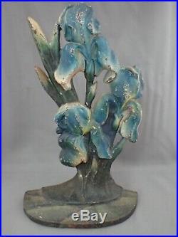 Antique Hubley Cast Iron, Blue Bearded Iris Flower Door Stop Doorstop
