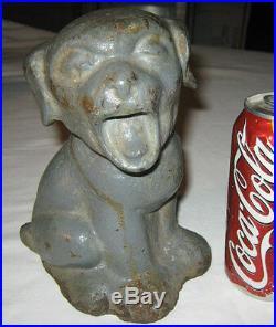 Antique Hubley Cast Iron Bonzo Yawning Puppy Dog Garden Door Art Statue Doorstop