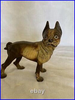 Antique Hubley Cast Iron Boston Terrier Dog Doorstop