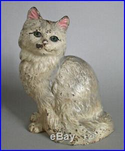 Antique Hubley Cast Iron CAT DOORSTOP 302 Persian Sitting Signed