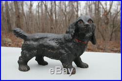 Antique Hubley Cast Iron Cocker Spaniel Black Dog Doorstop Figure 11 LARGE SIZE