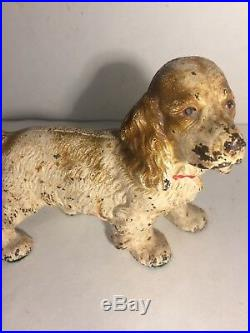 Antique Hubley Cast Iron Cocker Spaniel Tan Dog Art Statue Sculpture Doorstop