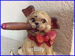 Antique Hubley Cast Iron Doorstop Dog/pup Smoking A Big Old Cigar Old Original