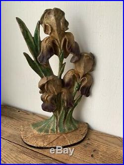 Antique Hubley Cast Iron Doorstop, Iris Flower, 1920s, Floral Door Stop
