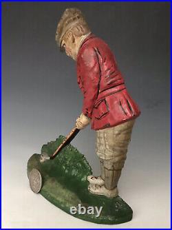 Antique Hubley Cast Iron Doorstop Putting Golfer #34, Original Paint, 1920, NR
