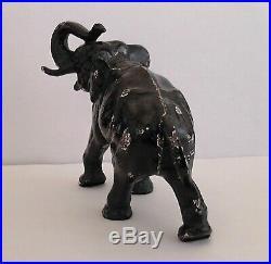 Antique Hubley Cast Iron Elephant Door Stop - Gloss Black Paint