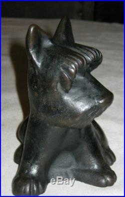 Antique Hubley Cast Iron Fdr Scottish Terrier Home Art Garden Statue Doorstop