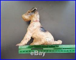 Antique Hubley Cast Iron Fox Terrier Dog Art Statue Sculpture Paper Weight