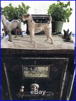 Antique Hubley Cast Iron Fox Terrier Dog Doorstop Exta Rare Front Facing Large