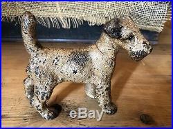 Antique Hubley Cast Iron Fox Terrier Doorstop Dog 6 1/2 Long