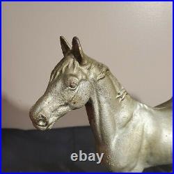 Antique Hubley Cast Iron Horse Door Stop 11 1/2 long 10 tall silver paint