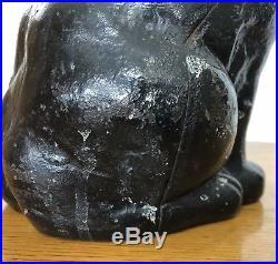 Antique Hubley Cast Iron Sleeping Cat Doorstop Black Feline Kitten Statue