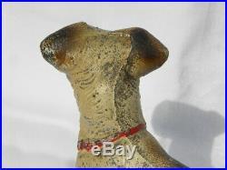 Antique Hubley Cast Iron Standing Fox Terrier Dog Doorstop or Bookend #1