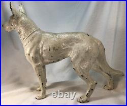 Antique Hubley Cast Iron White German Shepherd, Large, Forward-Facing-HTF