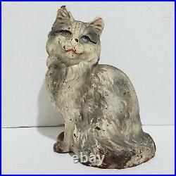 Antique Hubley Cat Door stop Cast Iron Persian Cat Metalware Decorative