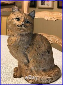 Antique Hubley Cat cast iron door stop 9 #302, vintage collectible, great eyes