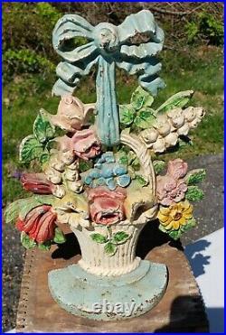 Antique Hubley Flower Basket Door Stop # 189 Spring Floral VTG Old Cast Iron USA