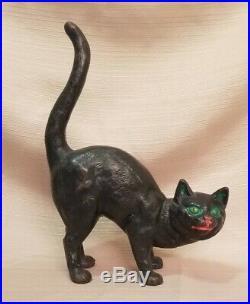 Antique Hubley Hunchback Cat Cast Iron Doorstop, Design #216, Circa 1900