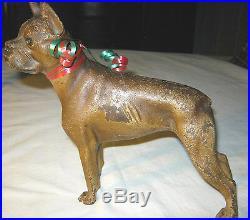 Antique Hubley Pa Cast Iron Boxer Guard Dog Art Statue Sculpture Door Doorstop