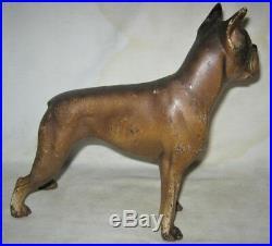 Antique Hubley Pa USA Cast Iron Boxer Dog Art Statue Sculpture Door Doorstop Us