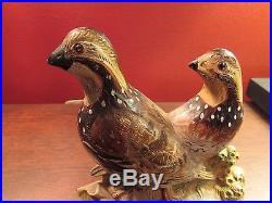 Antique Hubley Painted Cast Iron Quail Bird Bookends Doorstop #461