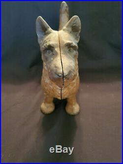 Antique Hubley Scottie Dog Door Stop Original Finish in Cast Iron
