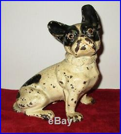 Antique Hubley Sitting Black & White French Bulldog Dog Door stop 8 by 7