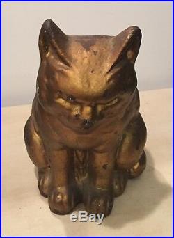 Antique Hubley Sleeping Cat Cast Iron Doorstop Gold Bronze CIRCA 1920's-30's