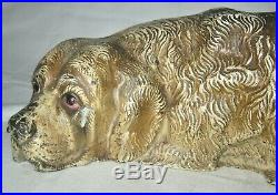Antique Hubley Toy Co. USA Cast Iron Saint Bernard Dog Art Statue Door Doorstop