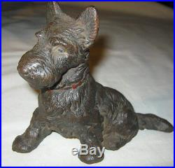 Antique Hubley USA Art Deco Scotty Dog Cast Iron Statue Sculpture Doorstop Toy
