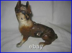 Antique Hubley USA Boston Terrier Cast Iron Dog Art Statue Sculpture Doorstop Ny