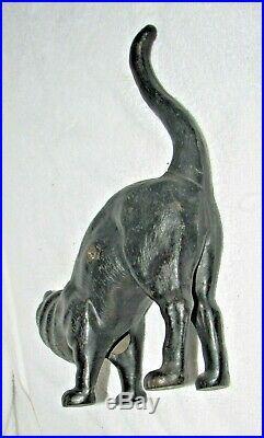 Antique Hubley cast iron black Halloween CAT FIGURE door stop, arched back