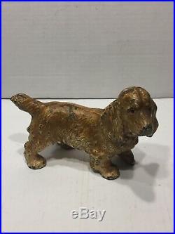 Antique Hubley cast iron cocker spaniel doorstop all original dog