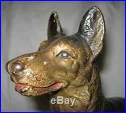 Antique Huge Hubley Toy Co German Shepherd Cast Iron Guard Dog Door Art Doorstop