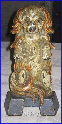 Antique Japanese Spaniel Dog Statue Sculpture Doorstop Cast Iron Japan Door Art