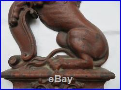 Antique Lion Cast-Iron Doorstop English Rampant Lion c. 1860's Original