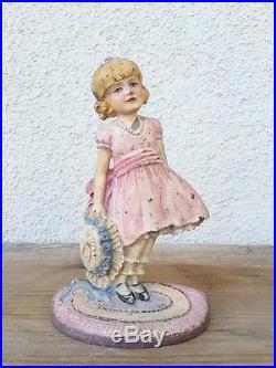 Antique Little Girl Cast Iron Metal Art Figural Doorstop Waverly Studio