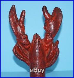 Antique Lobster Cast Iron Metal Art Figural Doorstop Nauctical