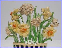 Antique Narcissus Flower Cast Iron Hubley Doorstop