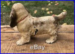 Antique Original HUBLEY Cast Iron Spaniel Dog Figurine Door Stop Decor 7