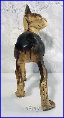 Antique Paint Full Body Cast Iron Boston Terrier Dog Door Stop Vintage No Screw
